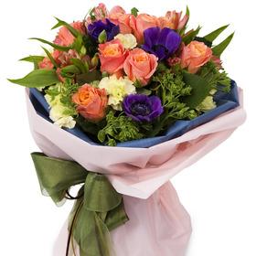 주황장미혼합꽃다발