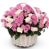핑크화이트꽃바구니
