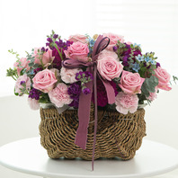 핑크톤 장미꽃바구니