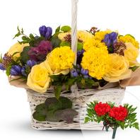 노랑혼합꽃바구니+코사지2개