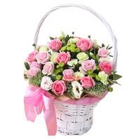핑크혼합꽃바구니A
