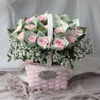 핑크장미 현금꽃바구니