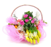 과일 핑크꽃바구니