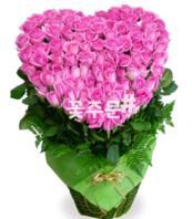 핑크하트100송이 꽃바구니